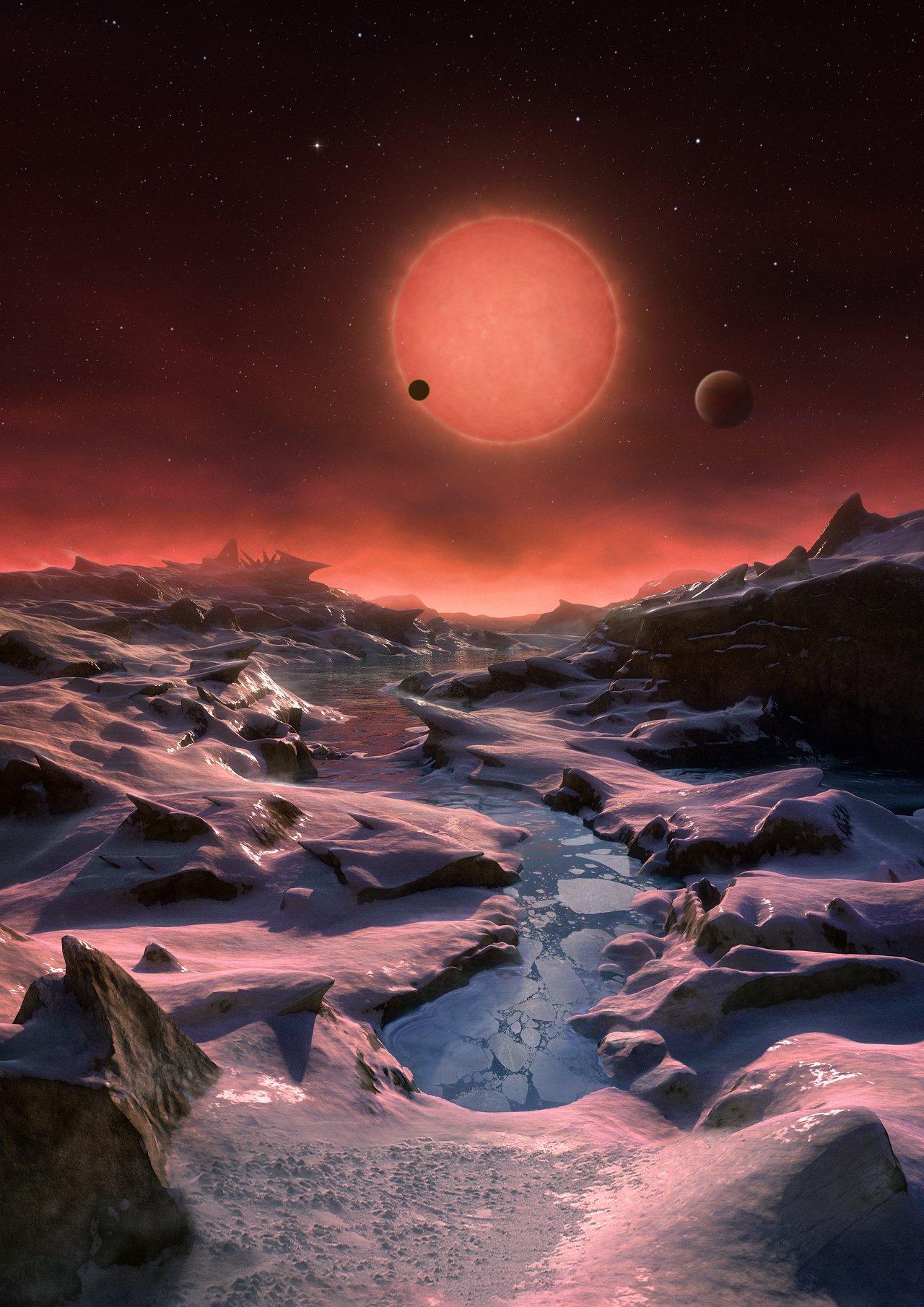 pohlad z jednej z planet v systeme trappist1