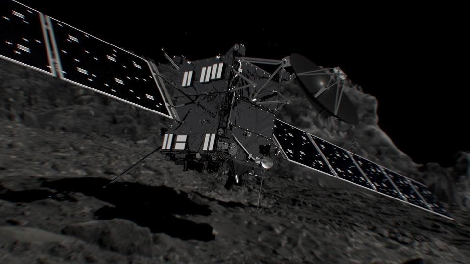 Umelecká predstava pristátia modulu Philae na kométe