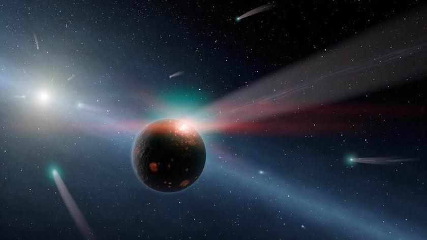 Umelecká predstava bombardovania Zeme kométami pri priblížení Gliese 710