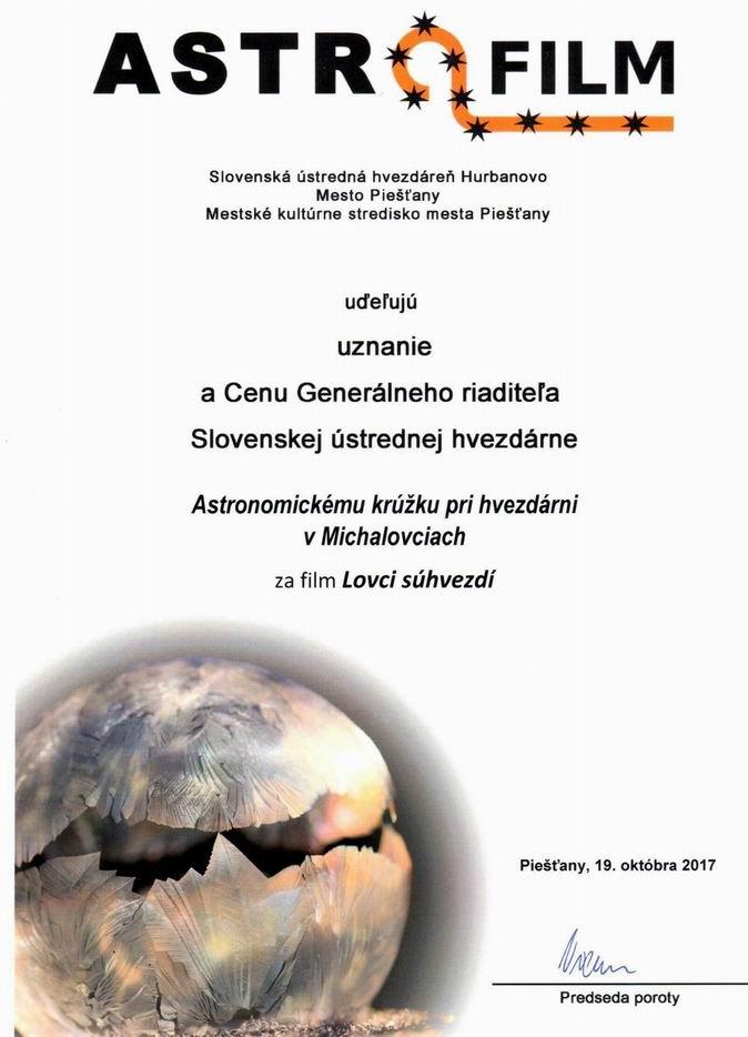 Diplom z Astrofilmu 2017